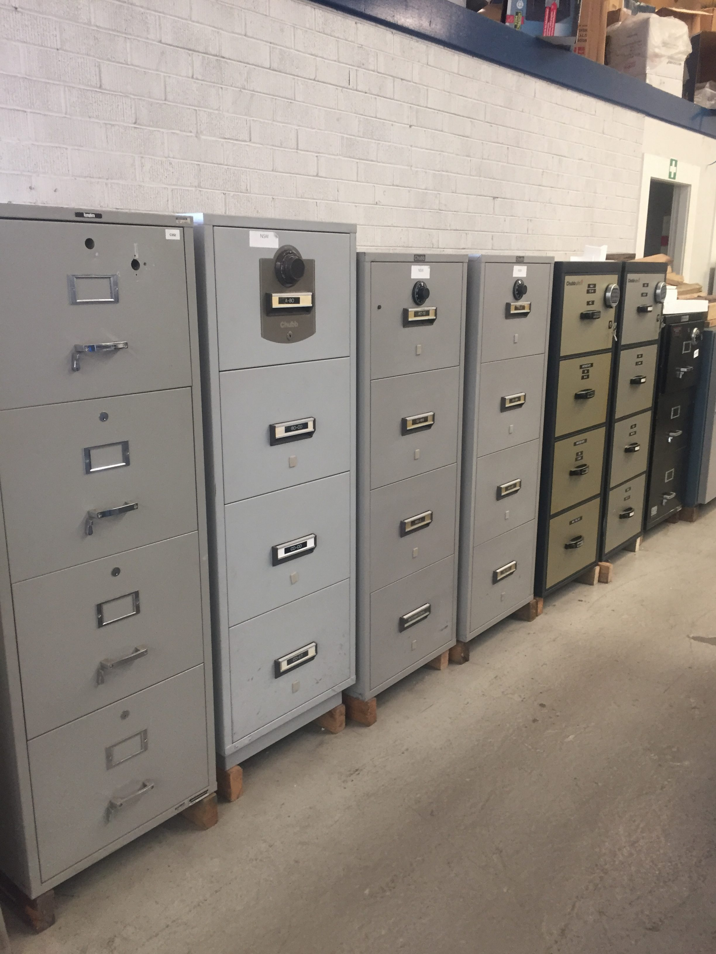 Used Chubb Fire Rated 4 Draw Filing Cabinets